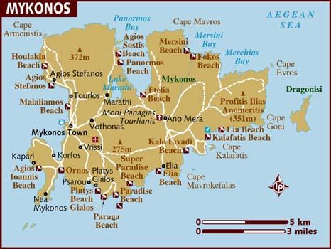 Mapa de onde ficar em Mykonos